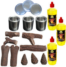 Gelkamin Starter Set 18 teile Ethanol Keramikholz Brenngel Kamin Ethanoldose