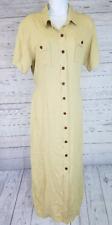 Diane von Furstenberg Color Authority Womens Dress Sz Large Button Front Tan