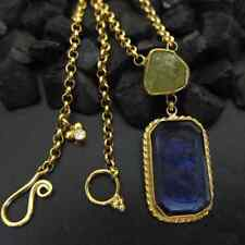 Handmade Blue Intaglio Necklace With Peridot And Diamond 925K Sterling Silver