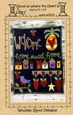 HOME IS WHERE THE HEART IS pattern by Wooden Spool Designs #1304 WALL HANGING