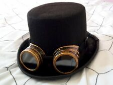 Vintage Steampunk Hat Cyber Retro Bronze Goggles & Black Top Hat. Punk. Cosplay.