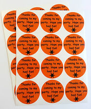 24 Halloween Party Bag Thank You stickers - Spooky Black On Pumpkin Orange 30-01