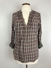 c28d061bf6d56d Maison Scotch Womens 100% Cotton Long Sleeve Plaid Blouse Size 2 (Medium)