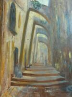 Original vintage oil painting on canvas Old Jerusalem, signed