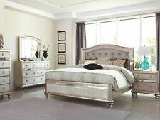 Transitional Platinum Silver Bedroom Furniture - 5pcs Queen Panel Bed Set Ia7L