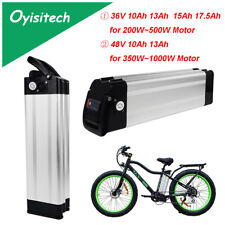 36V 48V 10Ah 13Ah 15Ah 17.5Ah Li-Ion Silver Fish Ebike Battery 200W~1000W Motor