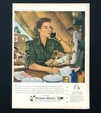 1944 Western Electric WW II Advertisement Army Nurse Hospital Telephone Print AD