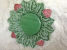 "MAJOLICA GREEN LEAF SHAPED PLATE WITH RED BERRIES 10"",MADE IN PORTUGAL"