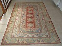 Handwoven Floral Milas Kilim Area Rug 5x8 Vintage Oriental Wool Turkish Carpet