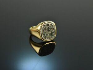 KLASSISCHER WAPPEN SIEGEL RING MIT GRAVUR IM BLUTJASPIS AUS GOLD 585 Um 1965