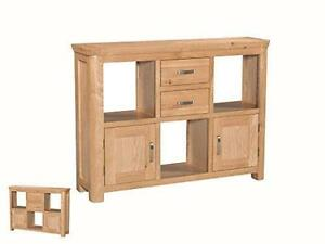 Bevel Natural Solid Light Oak Low Display Shelving Unit Drawers Doors DiningRoom