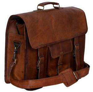 """18"""" Handmade Vintage Leather Satchel Messenger Man Handbag Laptop Briefcase Bag"""