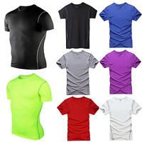 Mens Sportswear Athletic Tops Compression Under Base Layer Short Sleeve T-Shirt