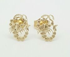 14k Solid Yellow Gold Scorpion Stud Earrings Women/Children Push Back 8MM