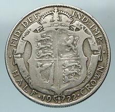 1922 Great Britain United Kingdom UK King GEORGE V Silver Half Crown Coin i84551