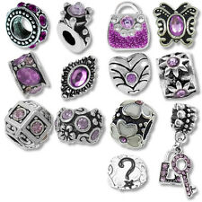 Beads and Charms for European Charm Bracelets Shades of Purple Birthstones Heart
