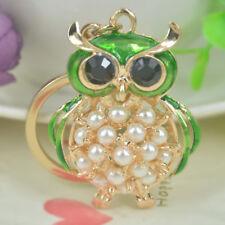 New Fashion Bead Owl Keyring Rhinestone Crystal Charm Pendant Key Bag Chain Gift