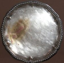 Antique hand crafted silver plated copper serving tray