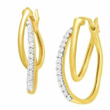 1/4 ct Diamond Double Hoop Earrings in 10K Yellow Gold