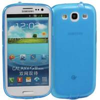 BLUE SAMSUNG GALAXY S3 SOFT GEL TPU SILICONE RUBBER CASE i9300: FROSTED BACK M51