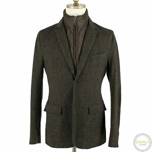 LNWOT CURRENT Burberry Brit Wool H-Bone Suede Elbows Nova Plaid Lined Jacket 38R