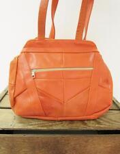 VINTAGE Bright Orange Leather Mod Patchwork Tote Bag Multipocket Shoulder Purse