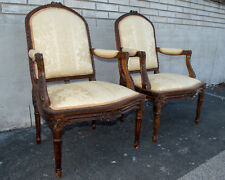 Pair of Late 18th Century French Berger Arm Chairs, Newly Upholstered & Restored