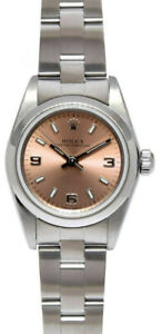 Rolex Oyster Perpetual Stainless Steel Salmon Roman Dial Ladies 26mm Watch 76080