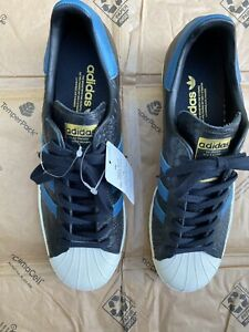 Men's New adidas Superstar Sneaker/shoes Black Reptile Leather/blue NWOB, Sz 11