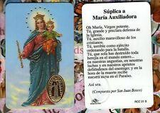 Suplica a Maria Auxiliadora - Spanish - Plastic stock Holy Card