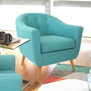Turquoise Modern Mid-Century Style Arm Chair Solid Wood Legs Accent Seating
