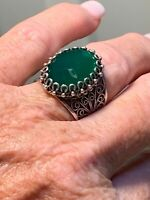 DGS vintage silver filigree ring with Green faceted stone. size 8