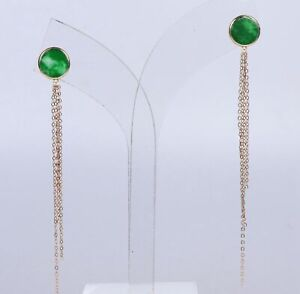 Certified 18K Gold Inlaid natural green jadeite fashion Ear studs earrings j0099