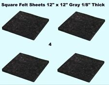 "Square Felt Sheets (4 pack) 12"" x 12"" x 1/8"" Thick Gray Pad Plain Back"