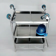 Dental Hospital Lab Medical Cart Trolley 3 Layers 2 Drawers Stainless Steel BMG