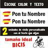 PEGATINAS PERSONALIZABLES (2) -BANDERA DE ESPAÑA CON NOMBRE- VINILO BICI BIKE