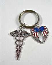 Veterans Affairs,Medical,caduceus,guardian angel wings ID key ring,Dr. RN,Tech,