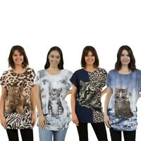 Caroline Morgan Women Casual Summer Animal Loose Tops Tiger Cat Floral Plus Size
