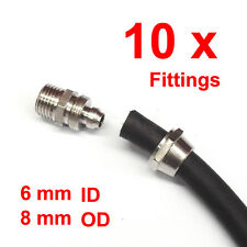 """10 PC AIR Quick Fitting for 6mm ID 8mm OD Hose, 1/4"""" male thread, barb nut"""