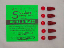 1/8 oz Brass & Glass for Texas/Carolina Rig - Red