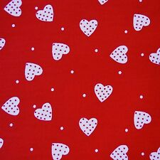 Red 100 Cotton White Polka Dot Hearts Fabric P/metre