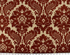 Drapery Upholstery Fabric Traditional Chenille Rustic Background - Burgundy/Tan