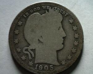 1905-O BARBER QUARTER DOLLAR ABOUT GOOD / GOOD AG/G NICE ORIGINAL COIN BOBS COIN