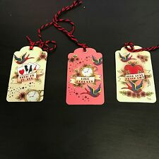 TEMERITY JONES PACK OF 6 TATTOO INSPIRED GIFT TAGS. SWALLOWS. HEARTS. CARDS.