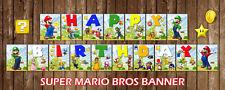 SUPER Mario Bros Happy Birthday Bunting Banner Party Decorazione Bambini favore