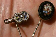 2 épingle s à cravate / chapeau micro-mosaïque polychrome miniature à restaurer