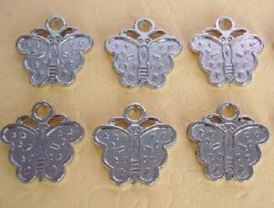 20 Cute Garden Butterfly Silver Plated Charm/craft/tag/scrapbooking/accent K115