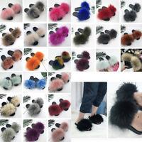 UK Women Real Fur Flat Fur Fluffy Sliders Slippers Comfy Sandals Flip Flop Shoes
