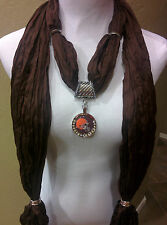 Cleveland Browns Licensed Rhinestone Pendant on a Brown Shimmer jewelry scarf