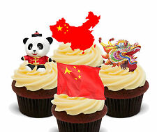 China Fun Pack, Edible Cupcake Toppers, Stand-up Fairy Cake, Chinese Flag